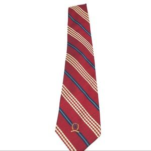 Tommy Hilfiger Crested Silk Tie-Cranberry Red-EUC